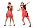 Housewife like javelin-throwing athlete Royalty Free Stock Photography
