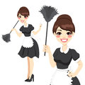 Housewife maid duster beautiful in classic dress costume holding a feather isolated on white background Royalty Free Stock Photo