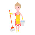 Housewife makes cleaning illustration of woman on white background Stock Photo