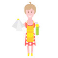 Housewife makes cleaning illustration of a woman on a white background Stock Photos