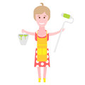Housewife makes repairs illustration of a woman on a white background Royalty Free Stock Image