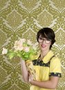 Housewife nerd retro woman ugly flowers vase Royalty Free Stock Photography