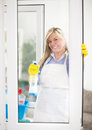 Housewife with pleasure look at shiny windows Royalty Free Stock Photo