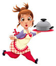 Housewife with pot. Royalty Free Stock Photo