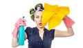Housewife with rag woman or wipe and cleaning spray for window close up of isolated on white Stock Photos