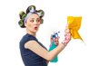 Housewife with rag woman or wipe and cleaning spray for window close up of isolated on white Stock Image