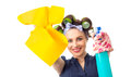Housewife with rag woman or wipe and cleaning spray for window close up of isolated on white Royalty Free Stock Photos