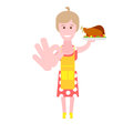 Housewife with roasted bird illustration of woman on white background Stock Images