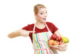 Housewife or seller offering healthy fruit isolated Royalty Free Stock Photo