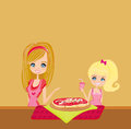 Housewife serving pizza mom with daughter eating Royalty Free Stock Photo
