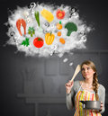 Housewife thinking questioning expression thinks about the necessary ingredients for cooking Royalty Free Stock Image