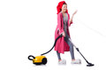 Housewife with vacuum cleaner on white Royalty Free Stock Photos
