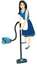 Housewife vacuums Stock Photo