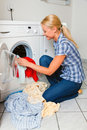 Housewife washing Stock Photo