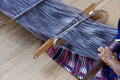 Housewife weave cotton cloth in thailand Royalty Free Stock Photo