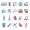 Housework and Cleaning Flat Line Icon Set