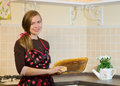 Housework modern kitchen happy woman washing dishes Stock Photography