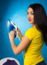Houseworks, checking the temperature on iron Royalty Free Stock Photo