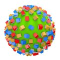 Housing business concept with small colorful houses on green ball Royalty Free Stock Photo