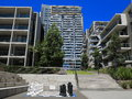 Housing complex modern with courtyard australian urban living in a chess game in the Stock Images