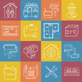 Housing and movement lineart minimal vector iconset on multicolor checkered texture Royalty Free Stock Photo