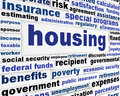 Housing social issue creative design government support word clouds poster Royalty Free Stock Images
