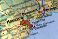Houston no mapa Foto de Stock Royalty Free