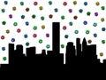 Houston skyline with dollar symbols Royalty Free Stock Photo