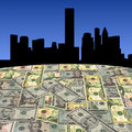 Houston skyline with dollars Stock Photo