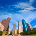 Houston skyline from tranquility park texas us in usa Royalty Free Stock Photography