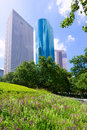 Houston skyline from tranquility park in texas us usa Royalty Free Stock Photos