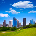 Houston texas skyline modern skyscapers and blue sky with view from park lawn Royalty Free Stock Images