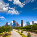 Houston texas skyline with modern skyscapers and blue sky view from road Royalty Free Stock Image