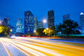 Houston texas skyline at sunset with traffic lights modern twilight headlights trace Royalty Free Stock Photos