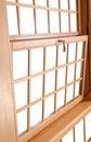 Houten dubbel hung windows traditioneel amerikaans venster Stock Afbeelding