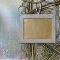 Houten frame voor foto, op de abstracte achtergrond Royalty-vrije Stock Foto's