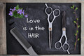 Hove is in the Hair quotation. Hair Cutting and Thinning Scissors on vintage background. Hairdresser salon concept. Haircut access Royalty Free Stock Photo