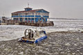 Hovercraft for crossing a freezing river volga Royalty Free Stock Photography