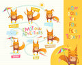 How does the fox feel today Cute cartoon animal with different mood expressions. Educational game for children. Learning