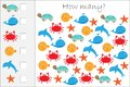 How many counting game with ocean animals for kids, educational maths task for the development of logical thinking, preschool Royalty Free Stock Photo