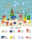 How many different underwater marine animals. Counting educational game with different sea animals for kids