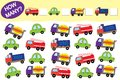 How many objects of transport. Educational game for children. Royalty Free Stock Photo