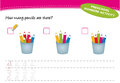 How many pencils are there preschool number activity eps included Stock Photo