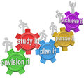 How to Achieve People Climbing Up Gears Envision Plan Pursue Royalty Free Stock Photo