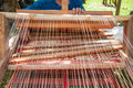 How to make thai sedge mat traditional weaving dried in thailand Stock Photo