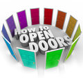 How to open doors words opportunity entry access new paths surrounded by doorways knock and gain or opportunities for success Stock Photos
