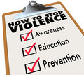 How to stop violence checklist awareness education prevention words on a check list including and Stock Image