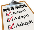 How to Survive Adapt Checklist Clipboard Advice Instructions Suc Royalty Free Stock Image