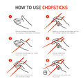 How to use chopsticks guidance Royalty Free Stock Photos