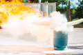 How to use a fire extinguisher with  gas container. Royalty Free Stock Photo